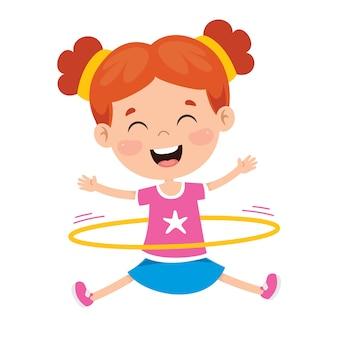 Szczęśliwe dziecko robi ćwiczenia gimnastyczne