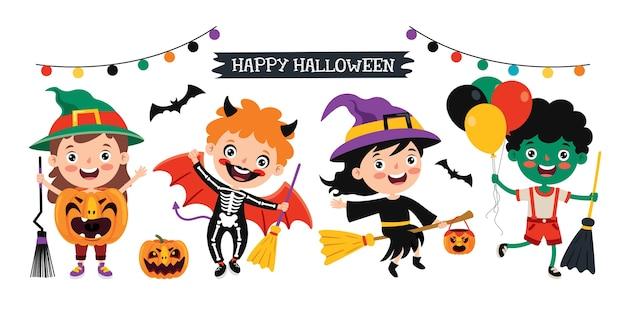 Szczęśliwe dziecko śmieszne świętuje halloween