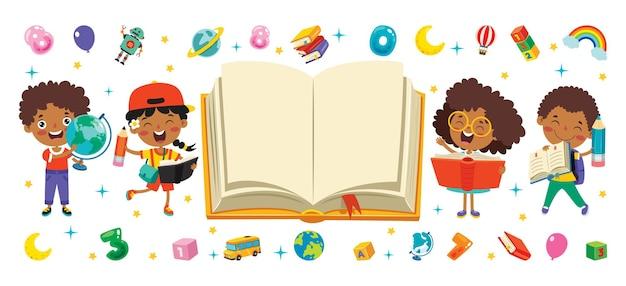 Szczęśliwe dziecko studiuje i uczy się