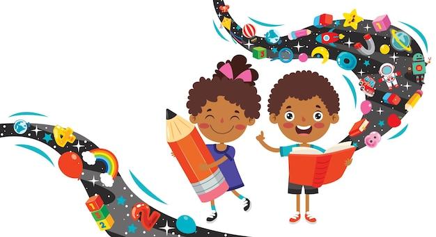 Szczęśliwe Dziecko Studiuje I Uczy Się Premium Wektorów