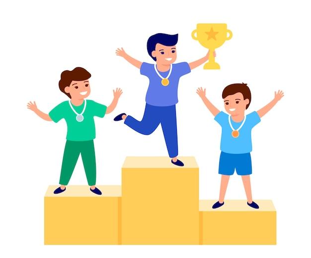 Szczęśliwe dziecko zwycięzca, trzymając złote trofeum, puchar. miejsca z nagrodami, nagradzanie zwycięzców. dzieci są uczestnikami rywalizacji. najlepsze dzieciaki na podium. płaska ilustracja