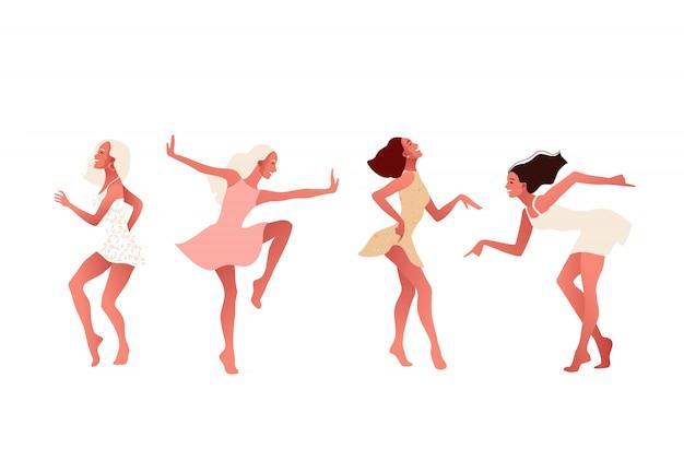 Szczęśliwe dziewczyny lub przyjaciele tańczą i śmieją się