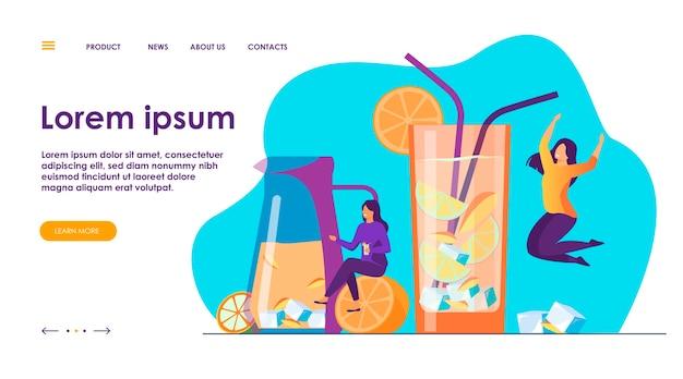 Szczęśliwe dziewczyny piją świeżą lemoniadę. młoda kobieta korzystających z koktajli, zabawy w pobliżu okularów z zimnymi napojami owocowymi i słomkami. ilustracja wektorowa na uroczystość, lato, koncepcja partii