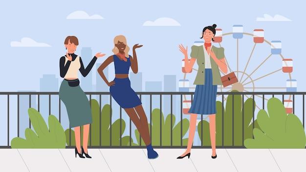 Szczęśliwe dziewczyny przyjaciółki feminizm wspólnota kobieca przyjaźń młodych stylowych kobiet lub dziewcząt