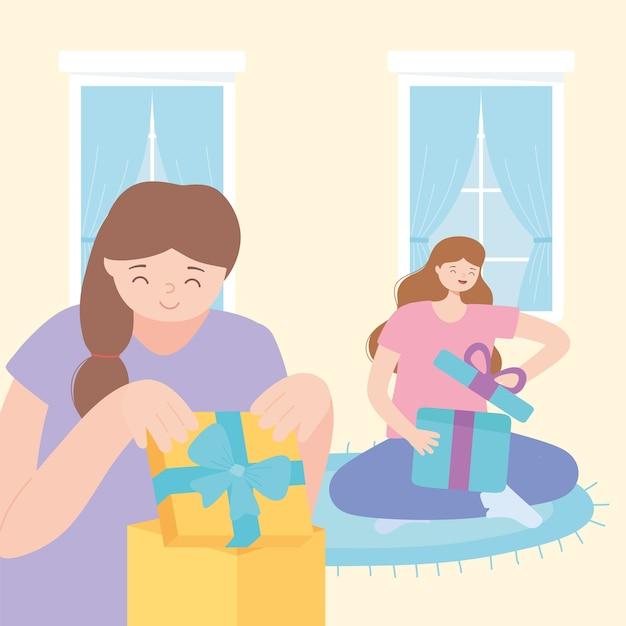 Szczęśliwe dziewczyny w pokoju otwierając ilustracji wektorowych pudełko prezent