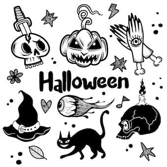 Szczęśliwe elementy halloween.