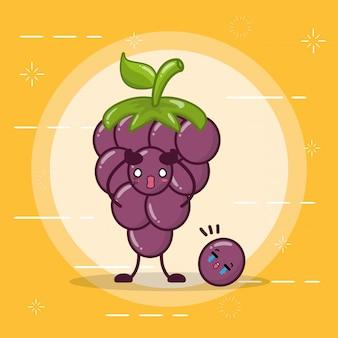 Szczęśliwe emoji z jagodami kawaii