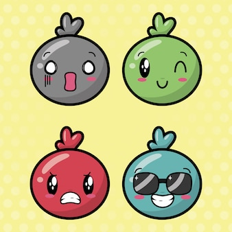 Szczęśliwe emotikony kawaii, twarze kreskówek