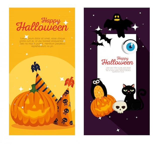 Szczęśliwe halloween banery