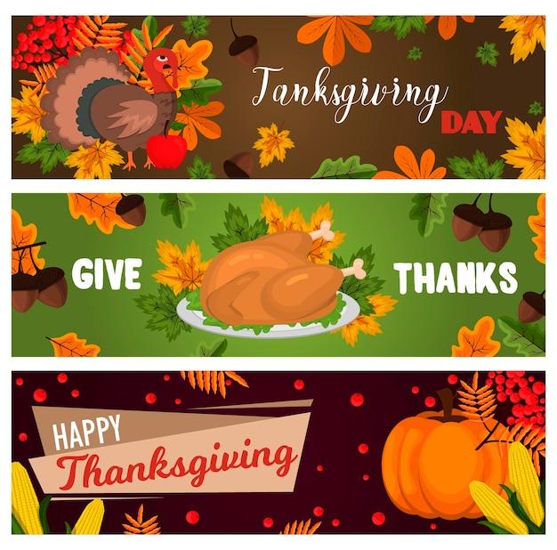 Szczęśliwe karty dziękczynienia celebracja transparent projekt kreskówka jesień pozdrowienia sezon żniw wakacje broszura ilustracji wektorowych. tradycyjne jedzenie obiad sezonowy dzięki dając plakat.