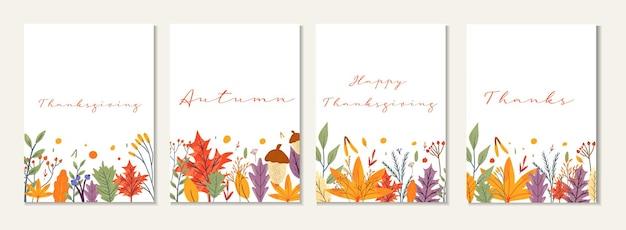 Szczęśliwe karty z pozdrowieniami dziękczynienia i zaproszenia. plakat celebracja z tekstem, jesienne liście, jagody na pocztówkę, baner. kaligrafia wektor napis wakacje cytat