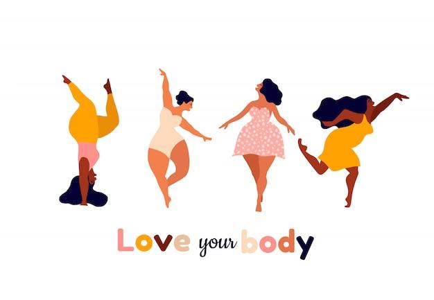 Szczęśliwe kobiety ciało pozytywne, kochaj siebie, swoją koncepcję ciała. ilustracja kobiecej wolności, siły dziewczyny lub międzynarodowego dnia kobiet.
