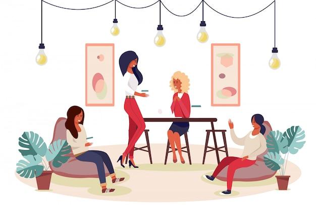 Szczęśliwe kobiety gromadzące się na imprezę panieńską lub zabawną kreskówkę