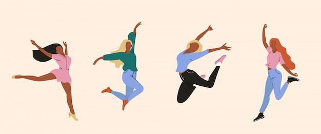 Szczęśliwe kobiety ilustracyjne.