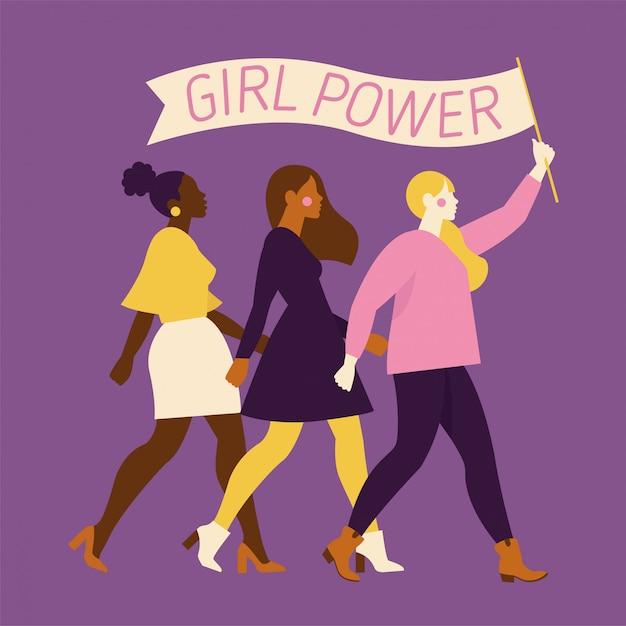 Szczęśliwe kobiety lub dziewczyny stojące razem i trzymając się za ręce. grupa koleżanek, związek feministek, siostrzeństwo. płaskie postaci z kreskówek na białym tle. kolorowa ilustracja.