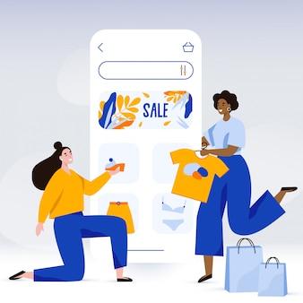 Szczęśliwe kobiety robią zakupy online. szablon ekranu sklepu internetowego. promocja sprzedaży i zakupoholiczka, ilustracja koncepcja czarny piątek w stylu płaski.