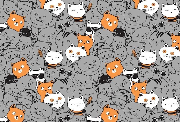 Szczęśliwe koty niepowtarzalny wzór