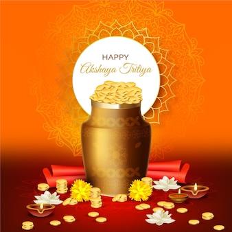 Szczęśliwe kwiaty i monety akshaya tritiya