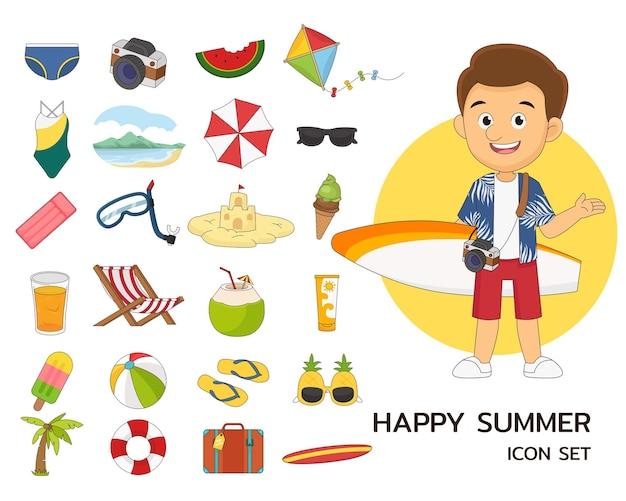 Szczęśliwe lato consept płaskie ikony, człowiek iść do podróży w letnie wakacje
