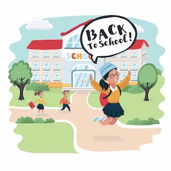 Szczęśliwe małe dzieci z torby i książki na tle budynku szkoły