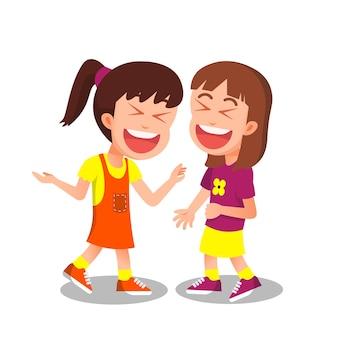 Szczęśliwe małe dziewczynki śmieją się razem głośno
