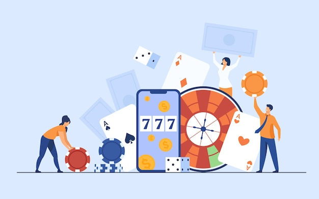 Szczęśliwe malutkie osoby uprawiające hazard w kasynie online