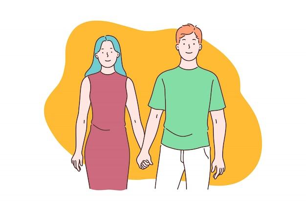 Szczęśliwe małżeństwo i romantyczne relacje, zrozumienie i szacunek mężczyzny i kobiety, silna koncepcja więzi rodzinnych