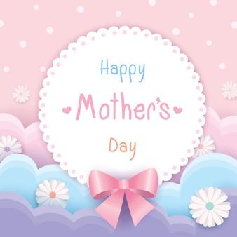 Szczęśliwe matki dzień różowe kwiaty