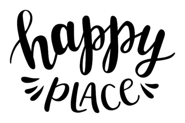 Szczęśliwe miejsce ręcznie rysowane napis