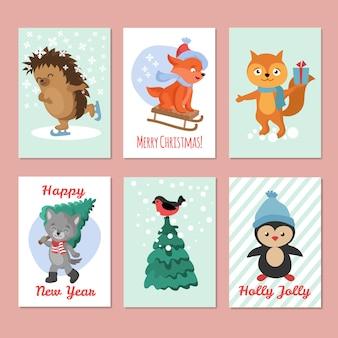 Szczęśliwe nowy rok ulotki wektorowe. wesołych świąt pocztówka z uroczych zwierząt zimowych