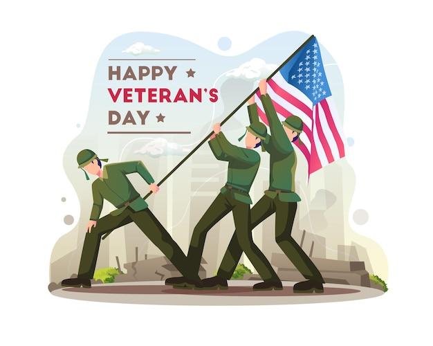 Szczęśliwe obchody dnia weteranów z żołnierzami walczą o podniesienie ilustracji flagi usa