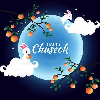 Szczęśliwe obchody koreańskiego festiwalu chuseok z uroczym króliczkiem premium vector