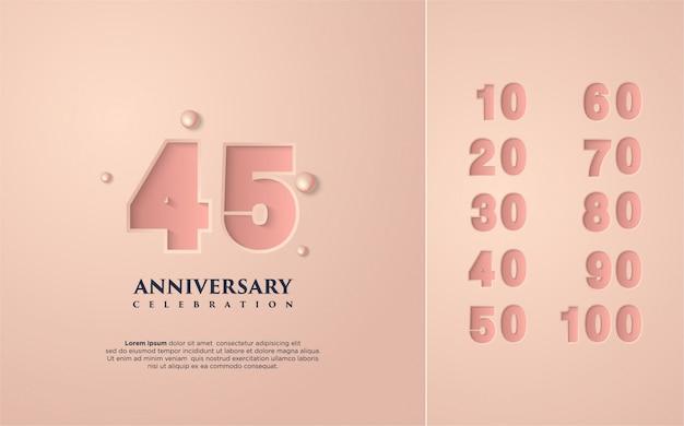 Szczęśliwe obchody rocznicy różowe z kilkoma zestawami liczb od 10 do 100.