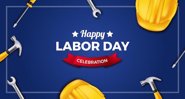 Szczęśliwe obchody święta pracy z 3d żółtym hełmem ochronnym, kluczem, młotkiem, śrubokrętem