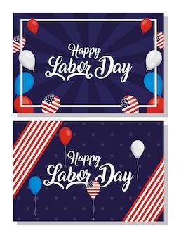 Szczęśliwe obchody święta pracy z flagami usa i zestaw ikon