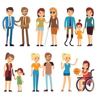 Szczęśliwe osoby niepełnosprawne w sporcie i działalności społecznej. ustawione płaskie znaki wektorowe. osoba niepełnosprawna na ilustracji wózka inwalidzkiego