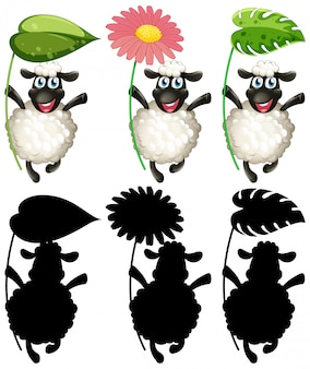 Szczęśliwe owce gospodarstwa zestaw liści i kwiatów