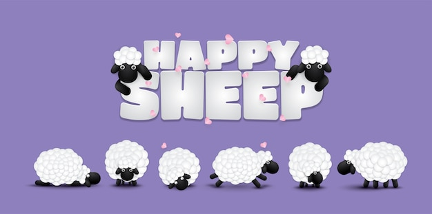 Szczęśliwe owce na tle