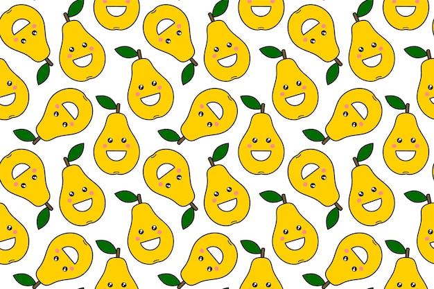 Szczęśliwe owoce kawaii nadruki dla dzieci. ładny wzór z gruszki buźkę w stylu cartoon. ornament z uśmiechniętym zabawnym owocem. projektowanie odzieży, tekstyliów, tkanin, opakowań, złomu, papieru prezentowego.
