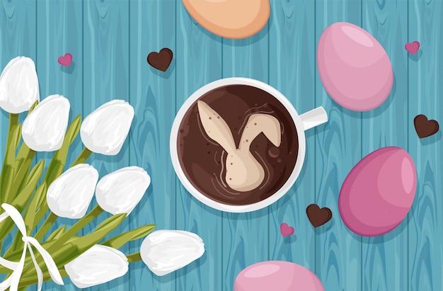 Szczęśliwe ozdoby pisanek z białymi kwiatami tulipanów i kawą z króliczkiem