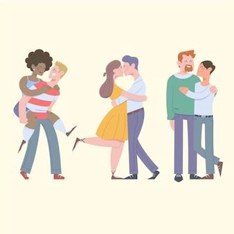 Szczęśliwe pary spędzają czas razem płaska ilustracja