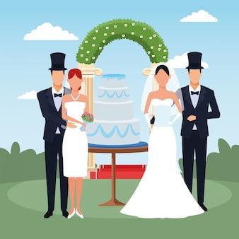 Szczęśliwe pary z pielącym ciastem i kwiecistym łukiem nad krajobrazem