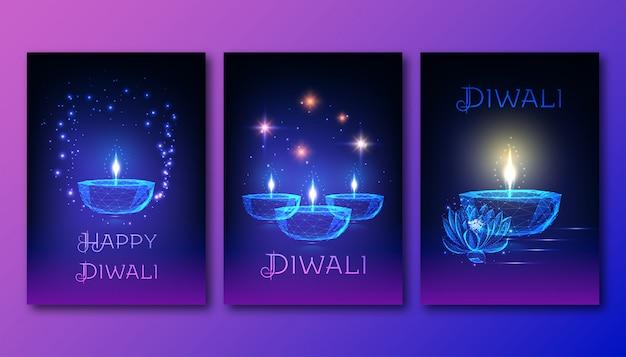 Szczęśliwe plakaty diwali z futurystyczną świecącą nisko wielokątną lampą naftową diya, kwiat lotosu, gwiazdy.