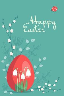 Szczęśliwe pocztówki wielkanocne. świąteczna dekoracja z wiosennymi elementami, kwiatami i jajkami. płaskie ilustracji wektorowych