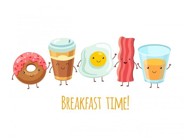 Szczęśliwe postacie na śniadanie. kawa kanapkowa z jajkiem. smażony boczek na śniadanie