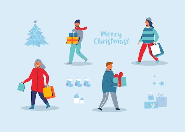 Szczęśliwe postacie na zakupy podczas ferii zimowych. ludzie z prezentami bożonarodzeniowymi. kobieta i mężczyzna z torby na zakupy na nowy rok.