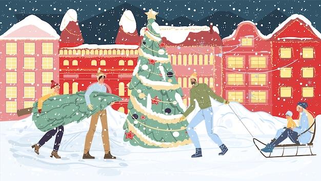 Szczęśliwe postacie rodzinne z kreskówek niosą choinkę, wesołe święta na sankach, szczęśliwego nowego roku