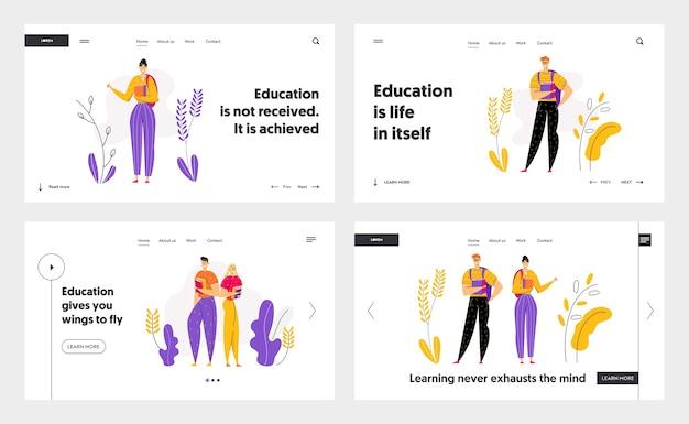 Szczęśliwe postacie uczniów ze stroną docelową książek. studenci płci męskiej i żeńskiej z podręcznikiem. koncepcja ukończenia edukacji na baner, witryny sieci web, strony sieci web.