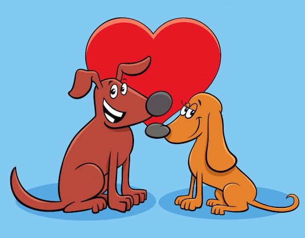 Szczęśliwe postacie zakochanych psów