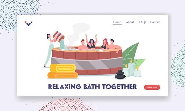 Szczęśliwe postacie zrelaksować się w tradycyjnym japońskim szablonie strony docelowej kąpieli onsen. uzdrowisko, gorące źródła. friends enjoy nature basen z wodą termalną, terapia pielęgnacyjna. ilustracja wektorowa kreskówka ludzie